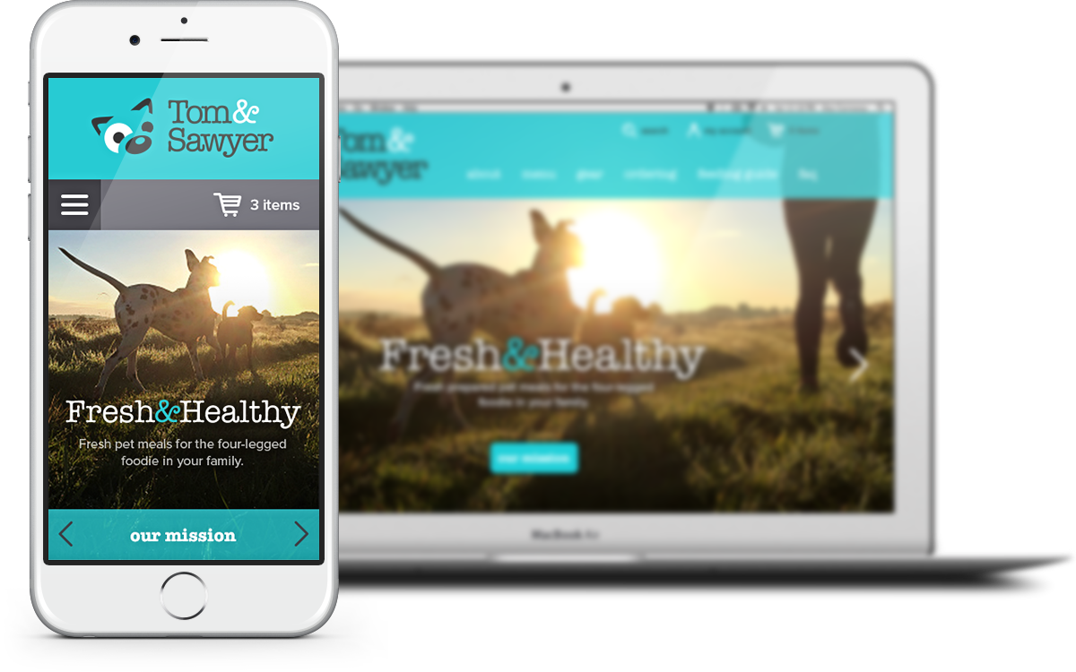Responsive Website Design Toronto for Pet Meal Startup Tom&Sawyer