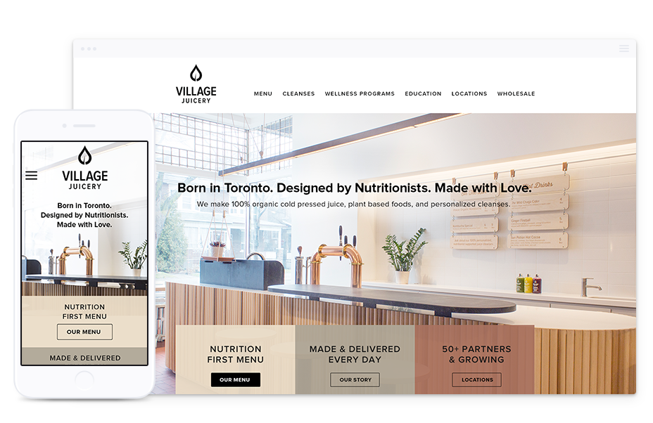 B2C Website Design for Village Juicery, Toronto