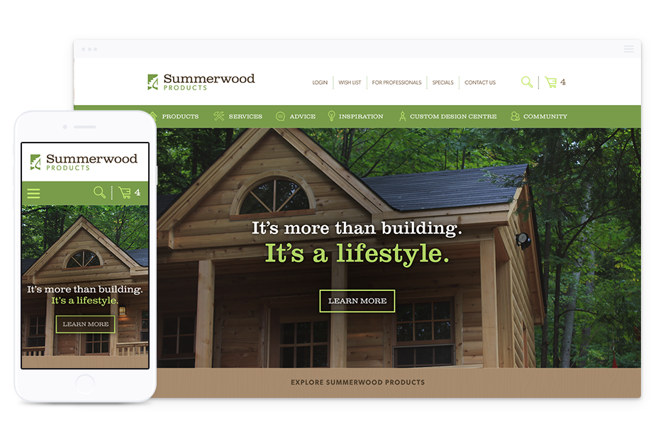 Website Design for B2C, Summerwood Products