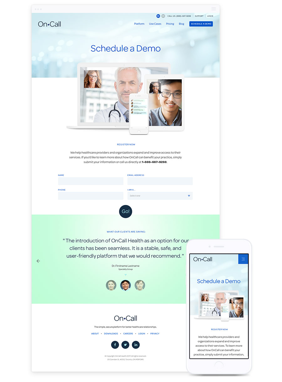 Web Design for Technology Company - OnCall Health