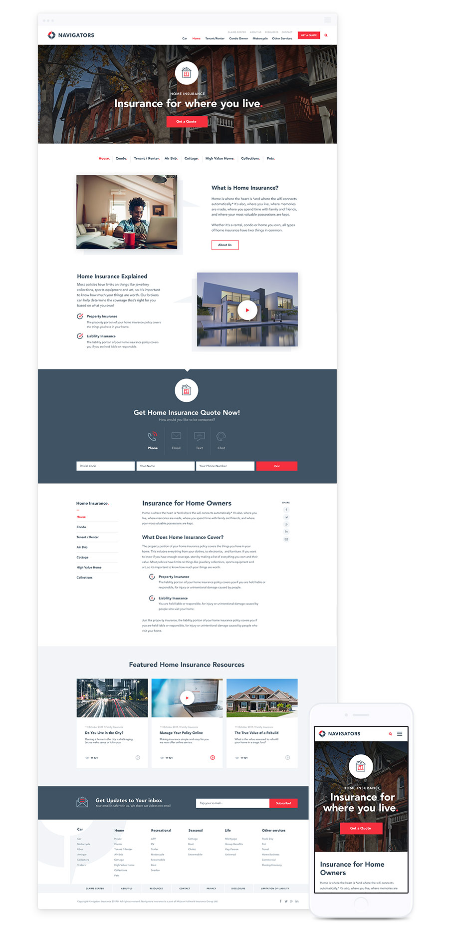 Responsive Web Design for Insurance Companies – Navigators Insurance by Parachute Design