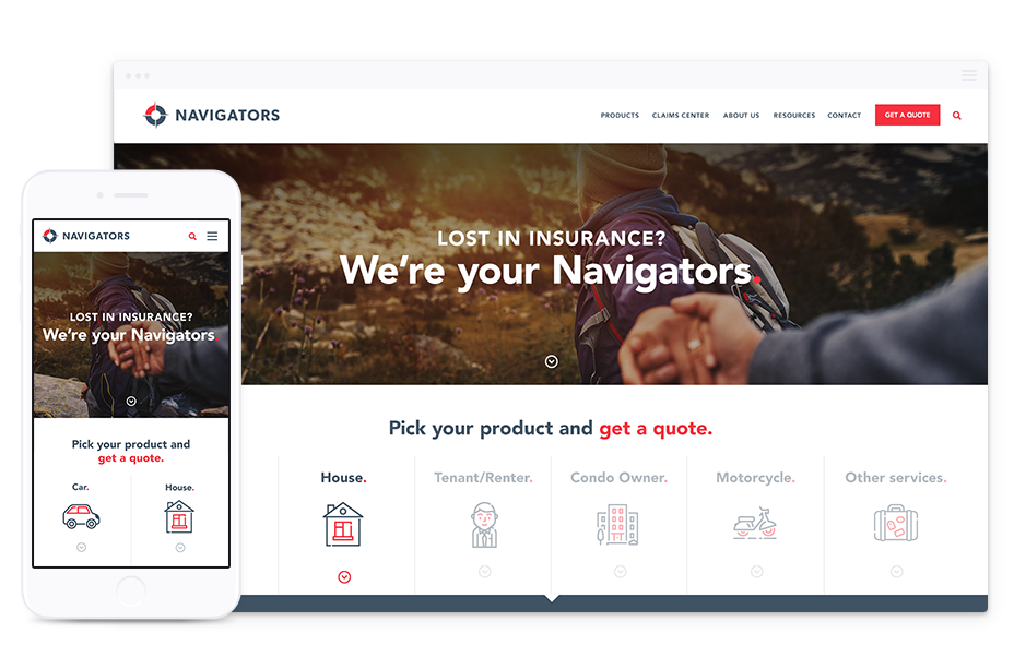 Website Design for Insurance Companies – Navigators Insurance by Parachute Design