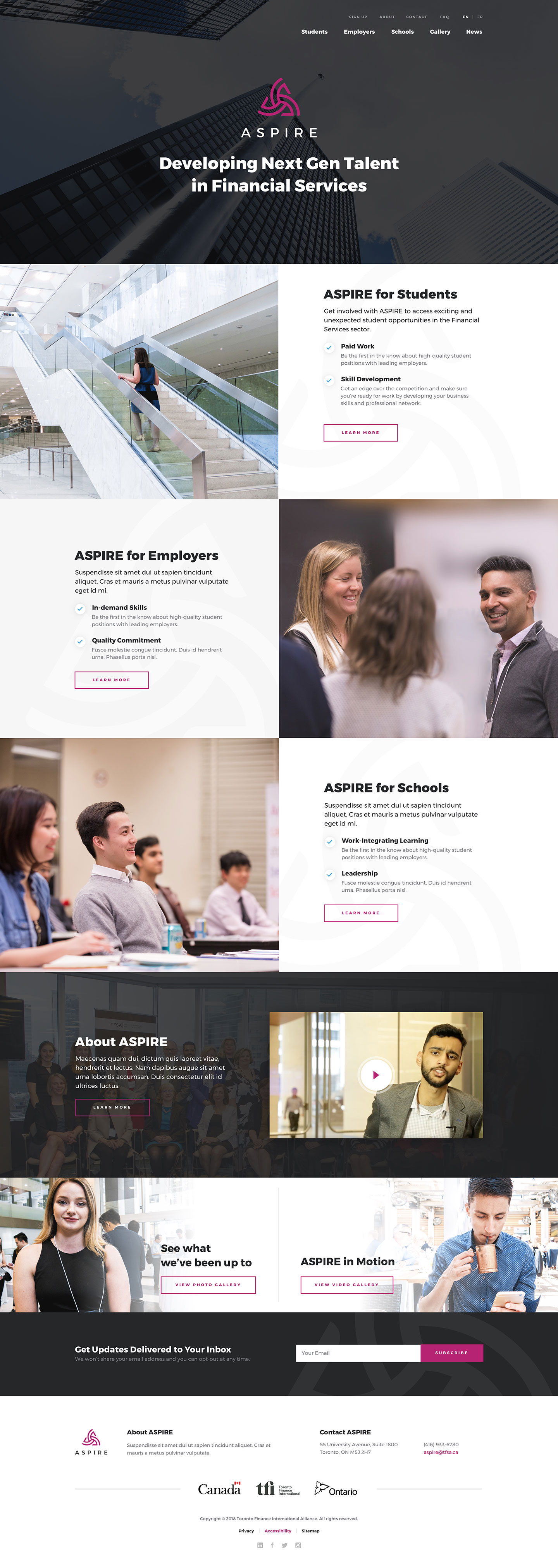 Custom WordPress Design for Toronto Financial International's ASPIRE Program