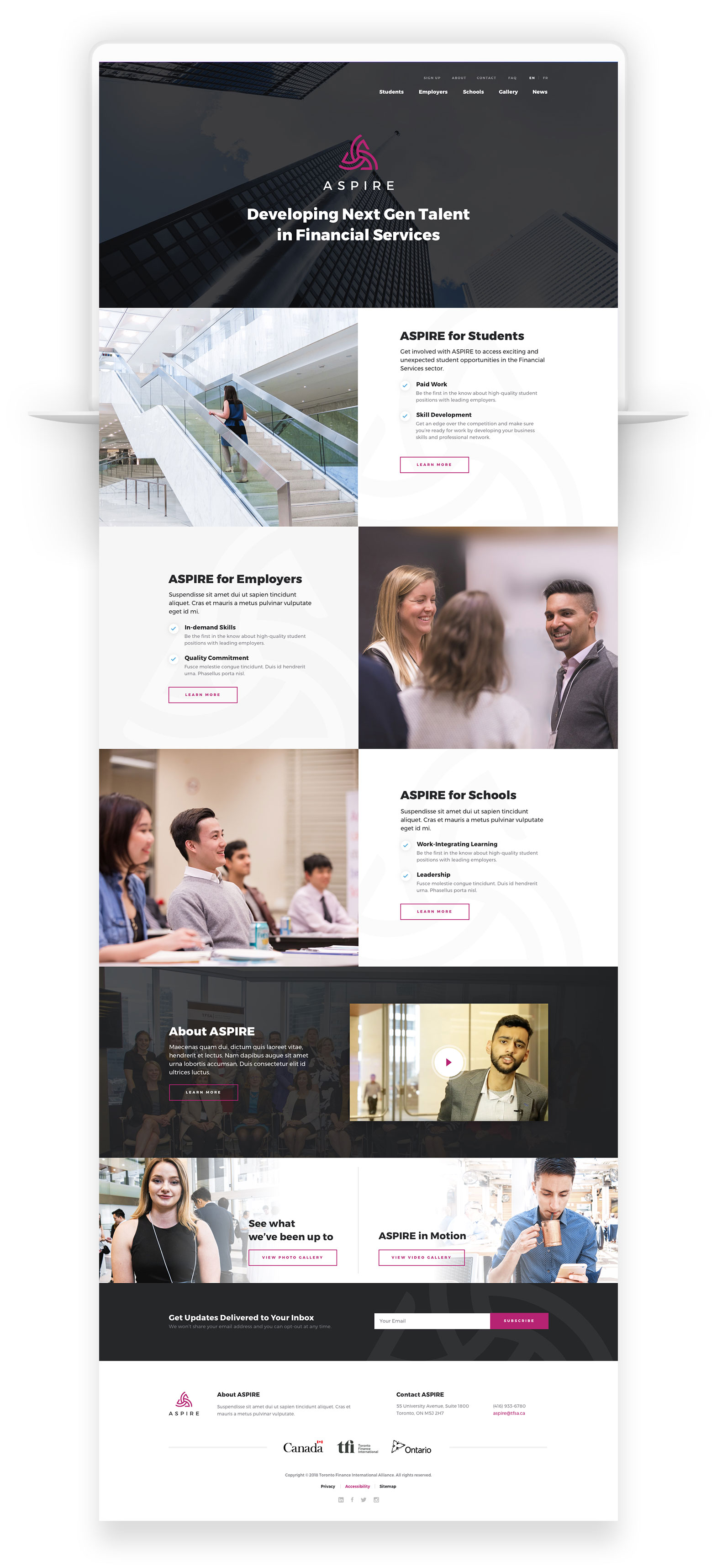 Custom WordPress Web Design for ASPIRE