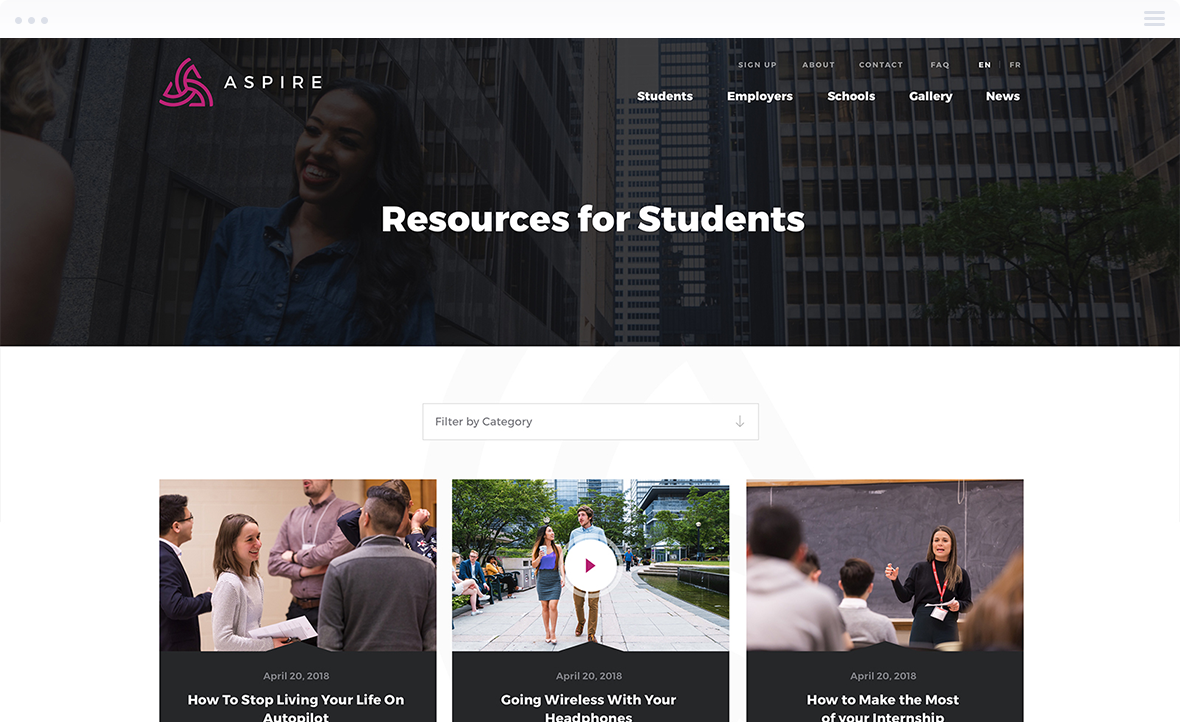Website Design for Toronto Finance International - ASPIRE