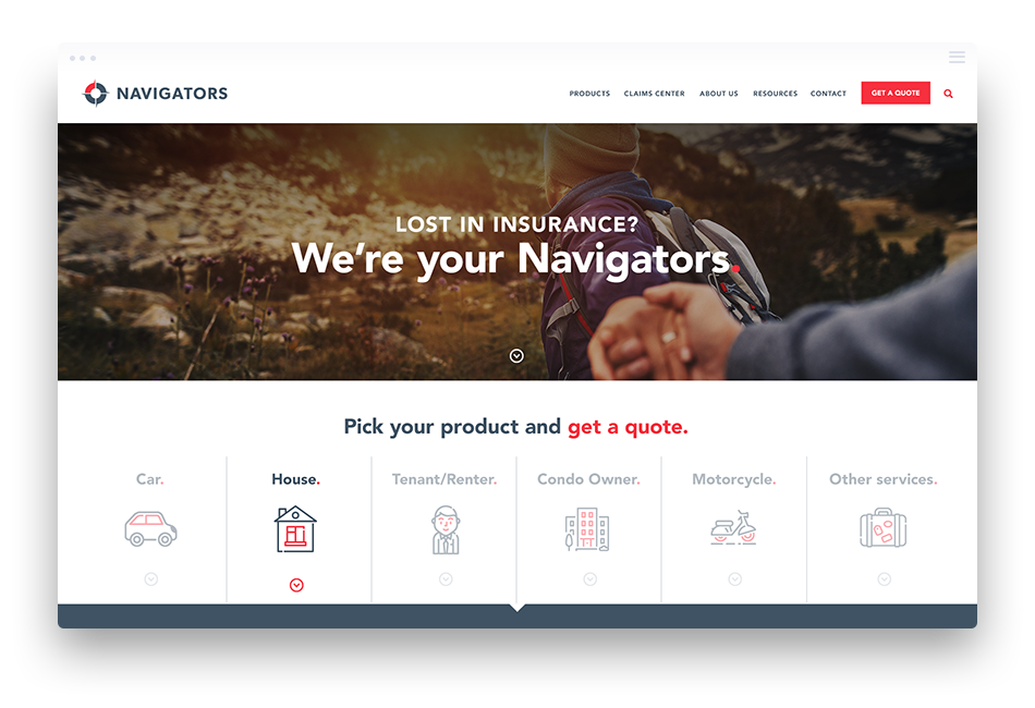 Insurance Company Web Design - Navigators Insurance