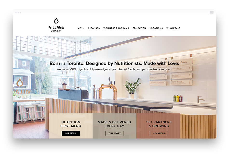 Web Design for Food & Beverage Company - Village Juicery