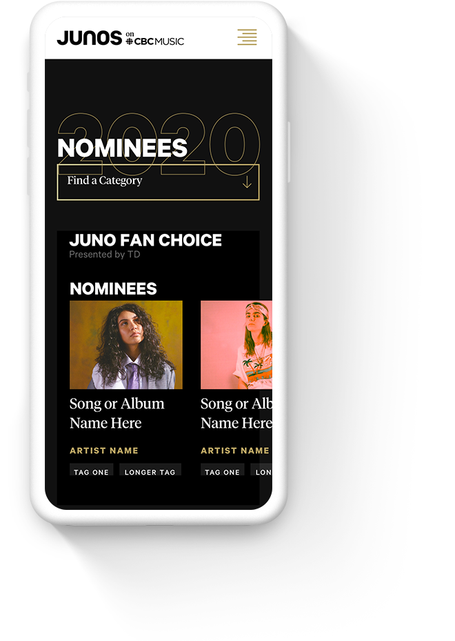 Mobile Web Design for The JUNO Awards
